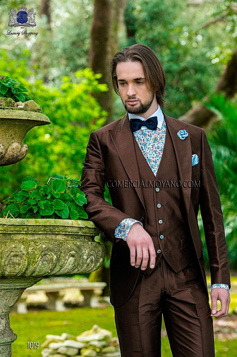 Italian bespoke brown silk shantung suit with waitcoat 1019 Ottavio Nuccio Gala