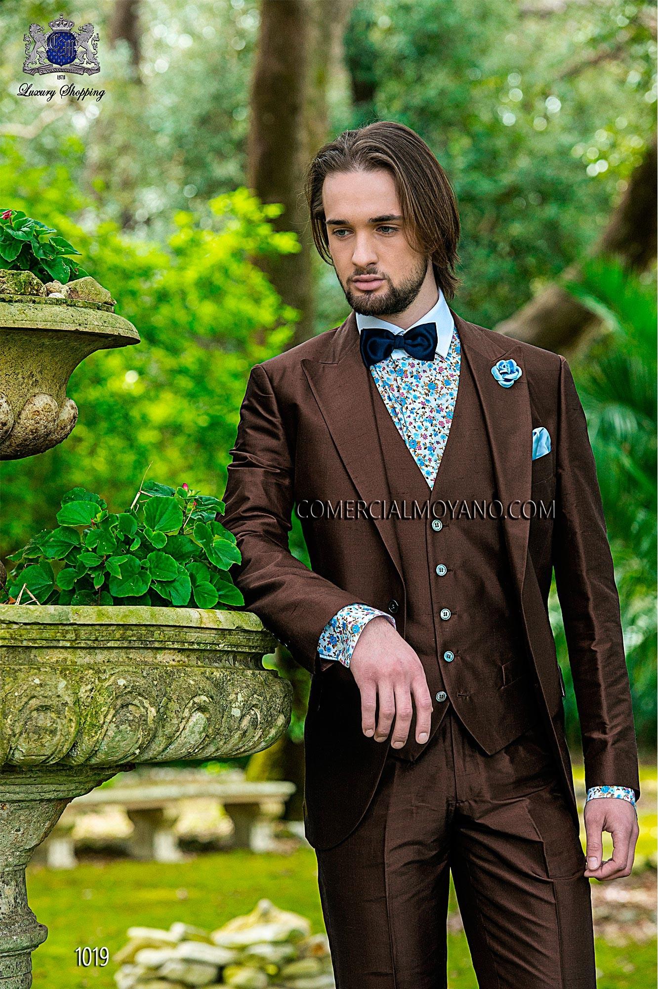 Hipster brown men wedding suit model 1019 Mario Moyano