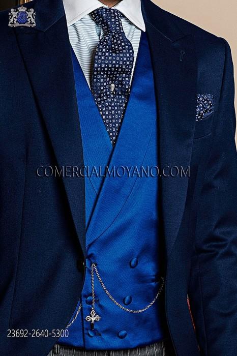Blue satin double-breasted waistcoat