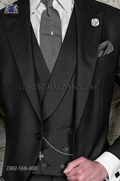 Black tonal pinstripe double-breasted waistcoat