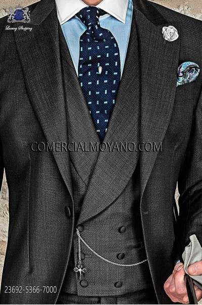 Dark gray double-breasted waistcoat in wool-polyester fabric