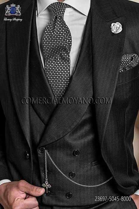 Black double-breasted waistcoat in polyester-viscose fabric