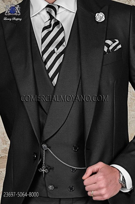 Black tonal pinstripe double-breasted waistcoat