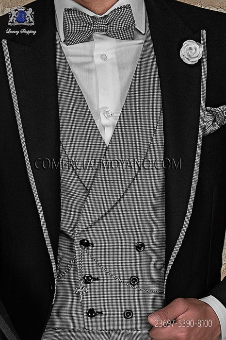 Black/white double-breasted waistcoat in houndstooth fabric