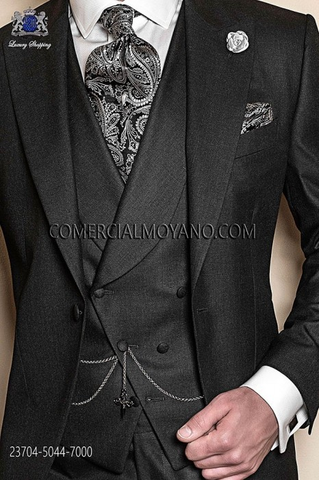 Anthracite gray double-breasted waistcoat in polyester-viscose fabric