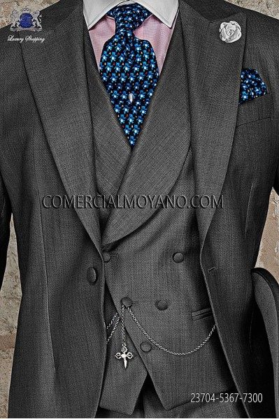 Light gray double-breasted waistcoat in wool-silk fabric