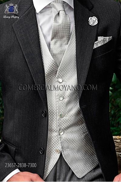 Pearl gray silk waistcoat