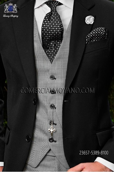 Black/white waistcoat in prince of wales wool fabric