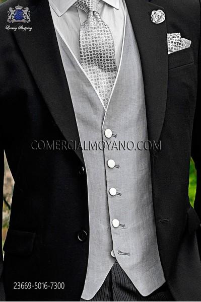 Pearl gray linen waistcoat