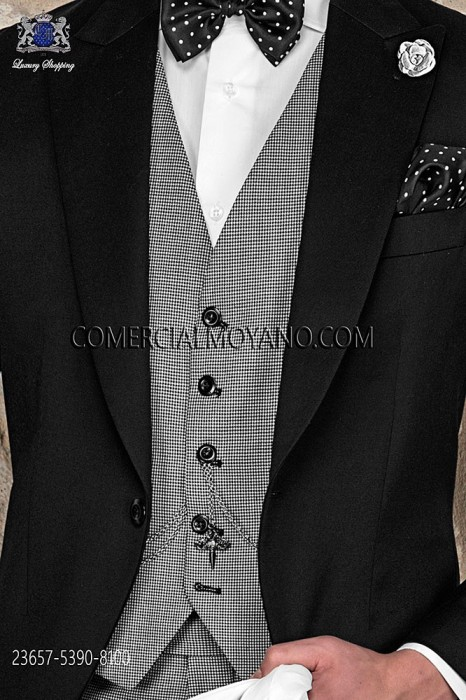 Black/white waistcoat in houndstooth fabric