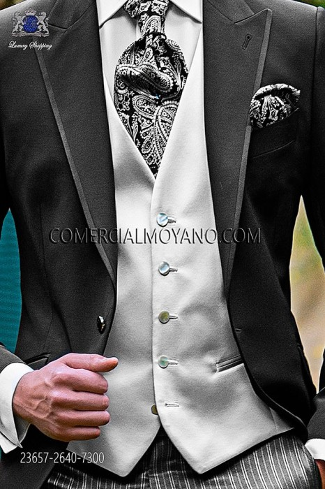 Pearl gray groom waistcoat in satin fabric