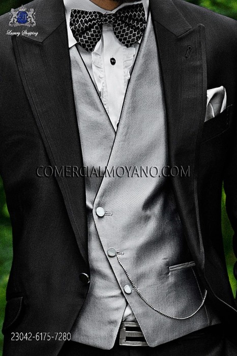 Gray asymmetric groom waistcoat in micro patterned fabric