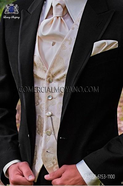 Ivory groom waistcoat in silk jacquard fabric