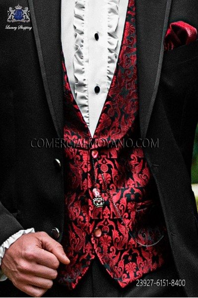 Black/red groom waistcoat in silk jacquard fabric
