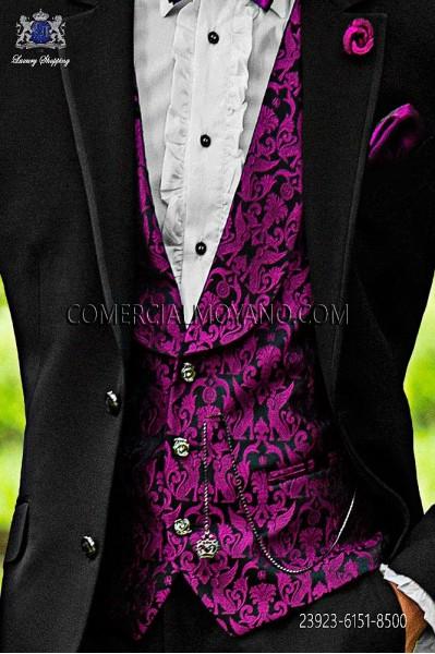 Chaleco moda negro-morado seda jacquard