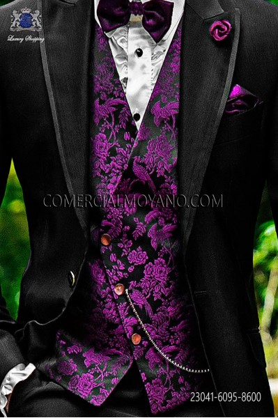 Black-purple groom asymmetric waistcoat in silk jacquard fabric