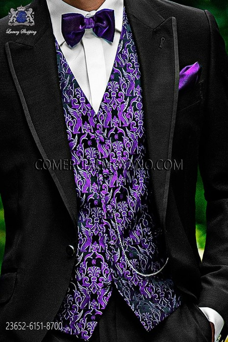 Black-purple groom waistcoat in silk jacquard fabric