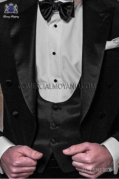 Black groom waistcoat in viscosa-polyester fabric