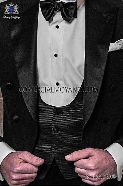 Black groom waistcoat in viscosa-polyester fabric