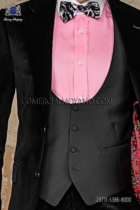 Black waistcoat in polyester-viscose fabric