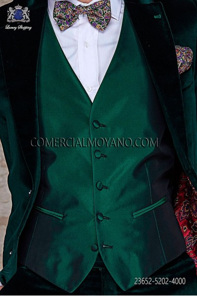 Green waistcoat in polyester-acetate fabric