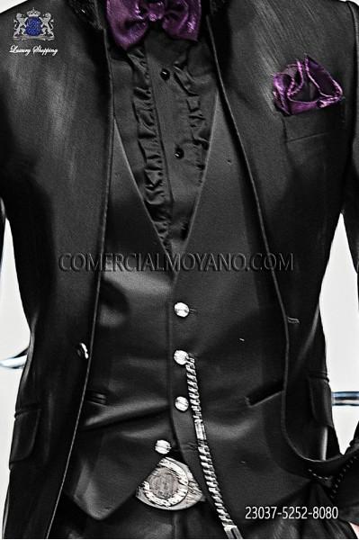 Black fashion waistcoat in satin fabric