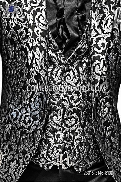 Black-silver fashion waistcoat in brocade fabric