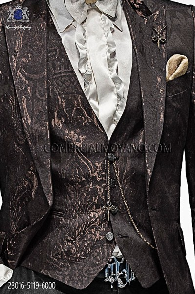 Brown fashion waistcoat in cotton brocade fabric