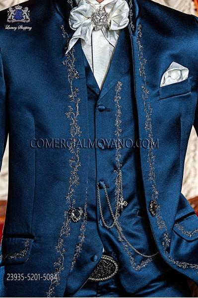 Blue satin period waistcoat