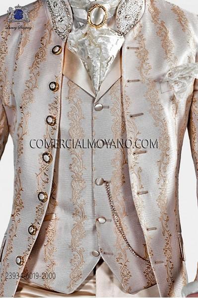 Ivory-golden brocade period waistcoat