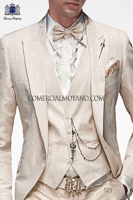 White fashion waistcoat in polyester jacquard fabric