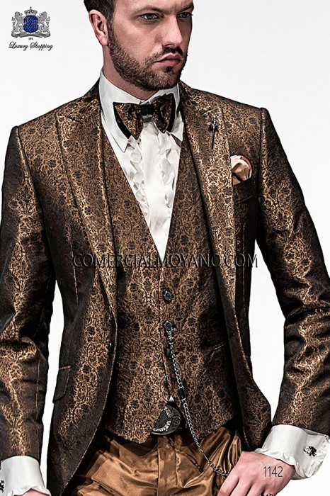Gold fashion waistcoat in polyester jacquard fabric