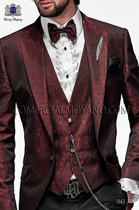Red fashion waistcoat in polyester jacquard fabric