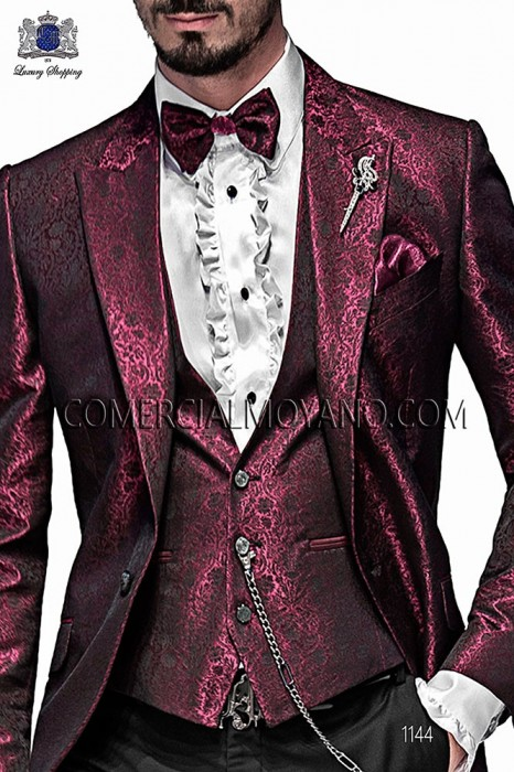 Bordeaux fashion waistcoat in polyester jacquard fabric
