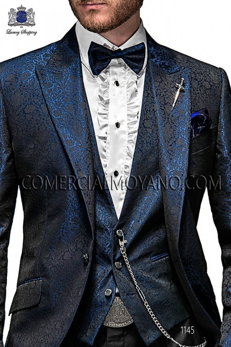 Blue jacquard waistcoat with 4 ONGala signature buttons closure.