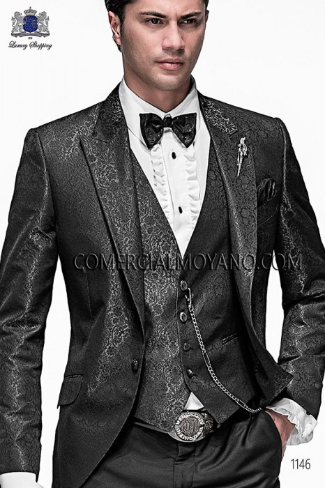 Gray fashion waistcoat in polyester jacquard fabric