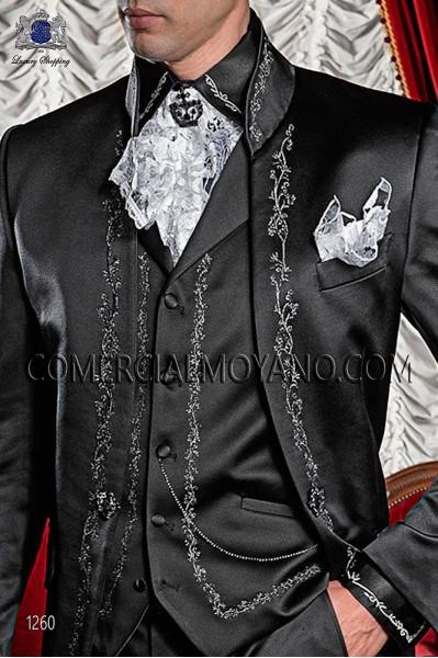 Black satin period waistcoat