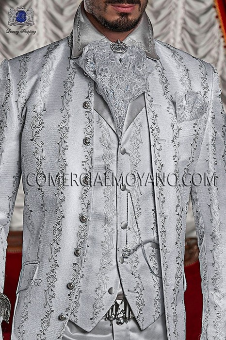 Pearl gray brocade period waistcoat