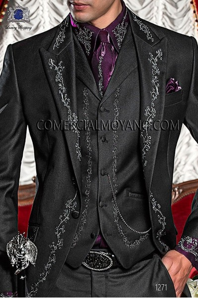 Black period waistcoat in polyester-viscose fabric