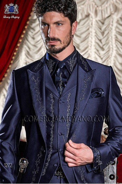 Blue period waistcoat in polyester-viscose fabric