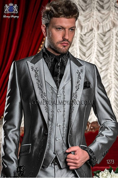 Gray period waistcoat in polyester-viscose fabric