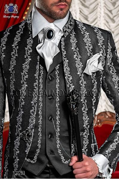 Black period waistcoat in satin fabric