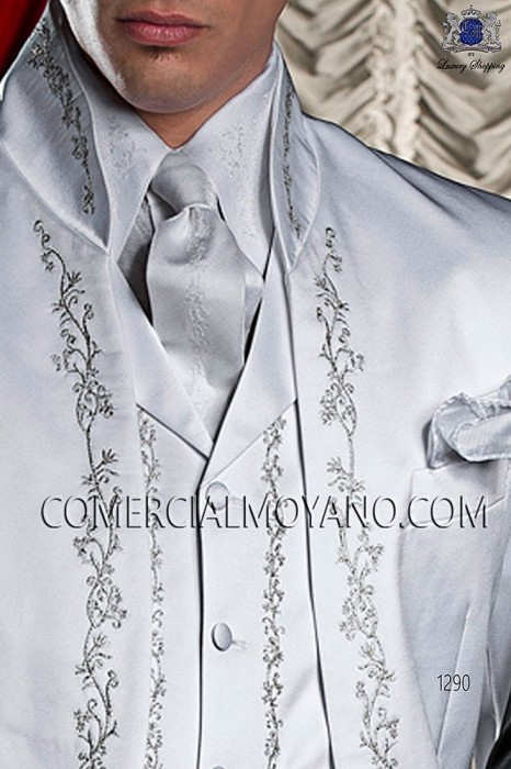 White period waistcoat with silver embroidery