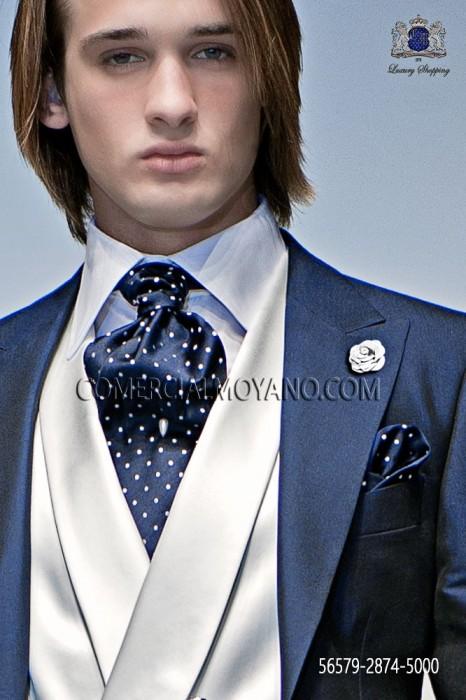 86a17aae3aa4 Ascot tie and handkerchief set made from blue and white polka-dotted  jacquard silk satin Ottavio Nuccio Gala.