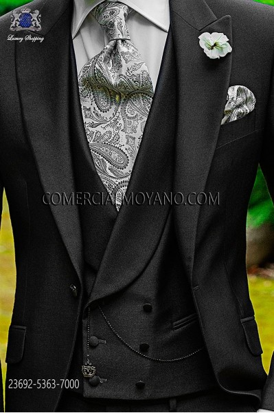 Anthracite gray double-breasted waistcoat