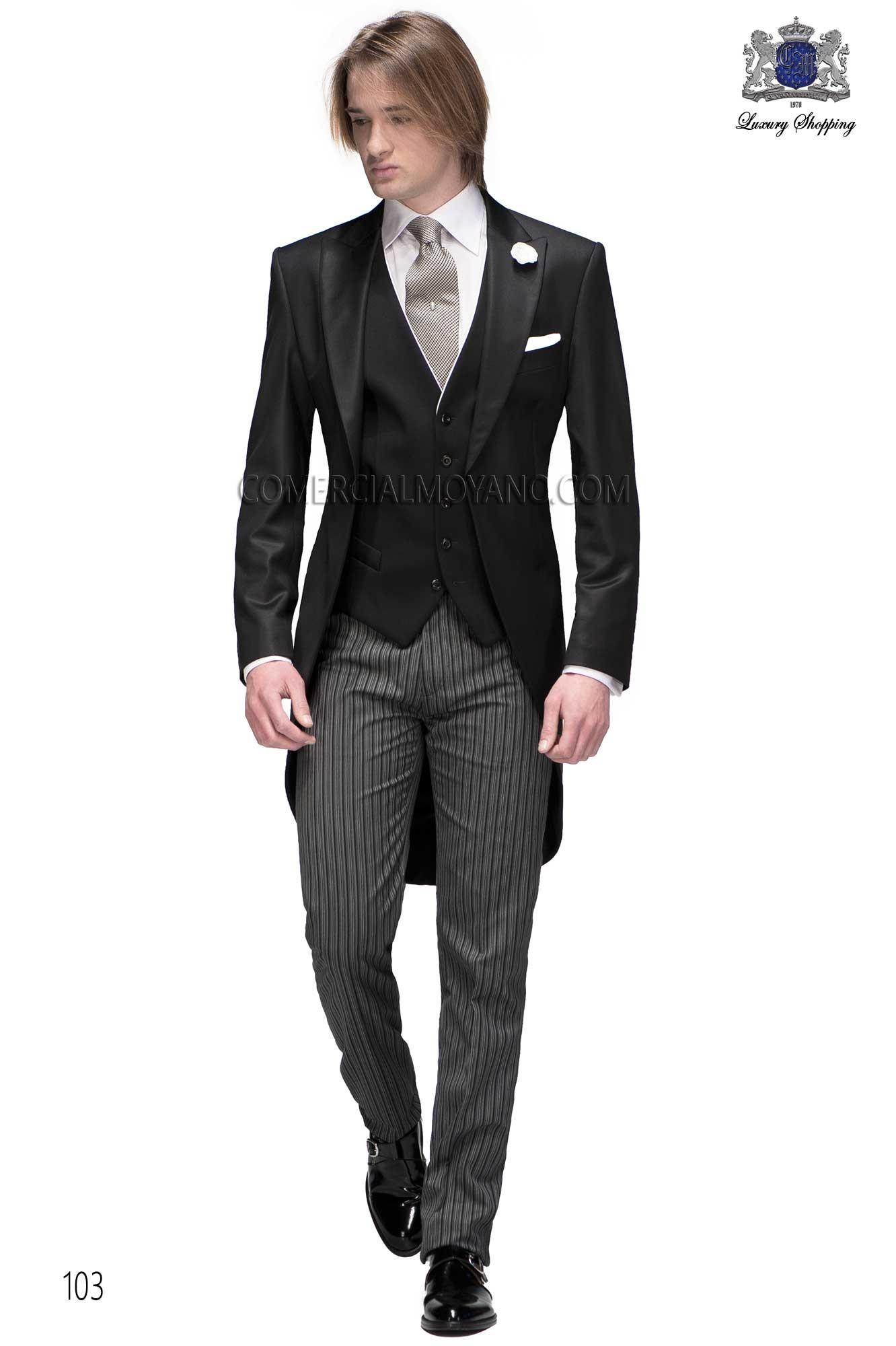 Traje de novio chaqué italiano a medida levita negra sin corte en la cintura, pantalón raya diplomática, modelo 103 Ottavio Nuccio Gala colección Gentleman.