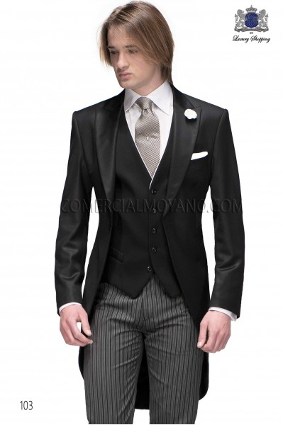 Italian bespoke black morning suit with formal pants