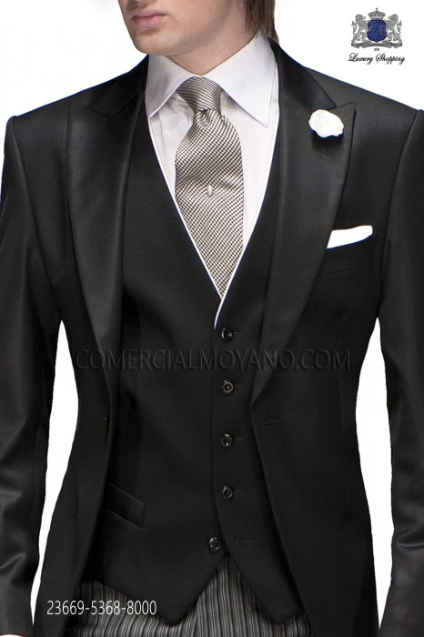 Black formal waistcoat with contrast piping