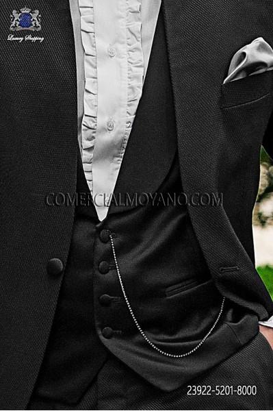 Black satin fashion waistcoat