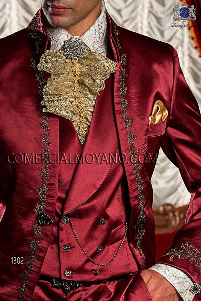 Red satin period waistcoat